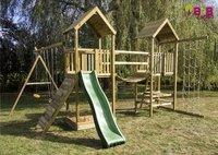 BnB Wood portique Nieuwpoort Duo Adventure avec toboggan vert-Image 1