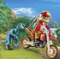 PLAYMOBIL The Explorers 9431 Pilote de moto et raptor-Image 1