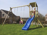 BnB Wood portique avec tour de jeu Diest et toboggan bleu