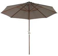 Parasol de luxe en bois FSC avec manivelle diamètre 3 m taupe