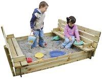 Forest-Style bac à sable Combi avec bancs et couvercle 120 cm