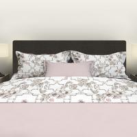 Satin d'Or Drap de lit Viola blanc/beige/rose satin de coton 240 x 300 cm-Image 1