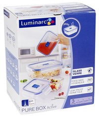 Luminarc 3 boîtes de conservation rectangulaires Pure Box Active