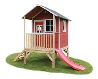 EXIT houten speelhuisje Loft 300 rood-Vooraanzicht