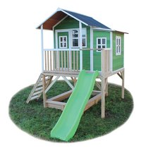 EXIT houten speelhuisje Loft 550 groen-Vooraanzicht