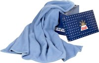 Sole Mio couverture en laine bleu/bleu ciel 180 x 220 cm-Image 1