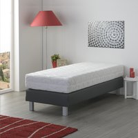 Boxspring fixe Medina aspect cuir anthracite 90 x 200 cm-Image 1