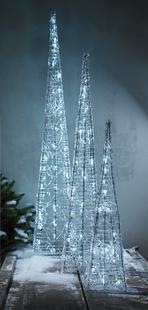 Pyramide lumineuse blanc froid H 60 cm-Image 1