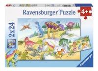Ravensburger Puzzel 2-in-1 Kleurrijke dinosauriers