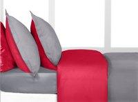 Home lineN dekbedovertrek Bicolore flanel lichtgrijs/rood 200 x 200 cm-Linkerzijde
