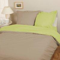 Home lineN dekbedovertrek Bicolore taupe/lime flanel 200 x 200 cm-Afbeelding 1