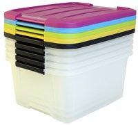 Iris Opbergbox transparant/geel/groen 15 l - 5 stuks