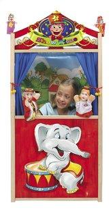 Théâtre de marionnettes en bois avec 2 marionnettes à doigts-Image 1