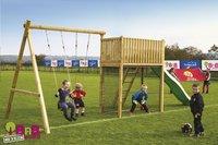 BnB Wood schommel met speeltoren Goal België met appelgroene glijbaan-Afbeelding 2