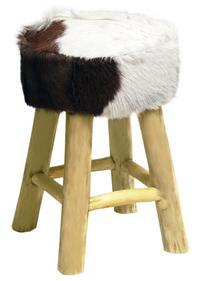 Van der Leeden Tabouret peau de chèvre brun/blanc