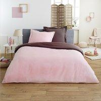 Home lineN housse de couette Bicolore en flanelle brun/rose 200 x 200 cm-Image 3
