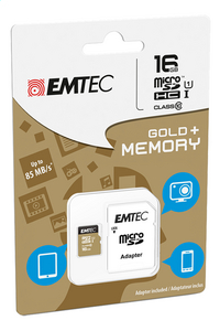 Emtec geheugenkaart microSDHC class10 16 GB goud-Linkerzijde