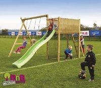 BnB Wood portique avec tour de jeu Goal et toboggan vert pomme