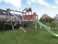 BnB Wood portique avec tour de jeu Fireman et toboggan vert pomme