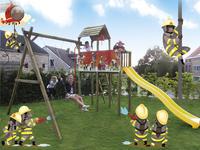 BnB Wood portique avec tour de jeu Fireman et toboggan jaune-Image 4