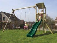 BnB Wood schommeltoren Diest met groene glijbaan-Afbeelding 1