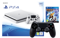 PS4 Slim 500 Go blanc + Ratchet & Clank + manette DualShock 4 noir