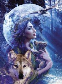 Ravensburger puzzel Vrouw met wolven-Vooraanzicht