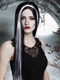 Pruik heks zwart met witte mèche-Afbeelding 1