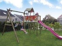 BnB Wood schommel met speeltoren Fireman met paarse glijbaan