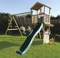 BnB Wood schommel met speeltoren Nieuwpoort + winkeltje Shop en groene glijbaan