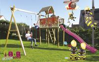 BnB Wood schommel met speeltoren Fireman met paarse glijbaan-Afbeelding 2