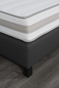 Couche Couche Boxspring fixe Juliette aspect cuir anthracite 180 x 200 cm-Détail de l'article