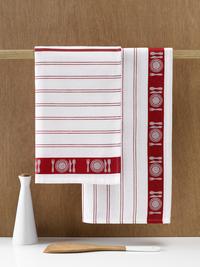 De Witte Lietaer 3 essuies de cuisine rouge/blanc 65 x 65 cm-Image 1