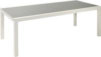Jati & Kebon verlengbare tuintafel Livorno lichtgrijs/wit 220 x 106 cm-Vooraanzicht