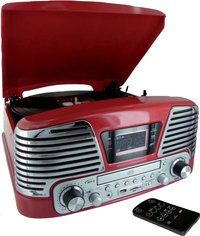Bigben radio/lecteur CD/tourne-disques TD79RM Nostalgia rouge
