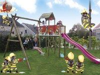 BnB Wood schommel met speeltoren Fireman met paarse glijbaan-Afbeelding 4