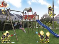 BnB Wood portique avec tour de jeu Fireman et toboggan bleu-Image 4