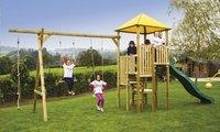 Deze houten schommel Zolder met platformen op verschillende hoogtes staat garant voor jarenlang speelplezier.