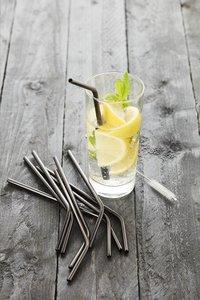 Point-Virgule 4 pailles à cocktail avec écouvillon-Image 2