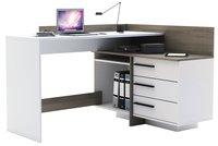 Bureau d'angle Thales à 3 tiroirs blanc/décor chêne