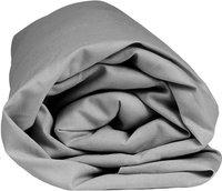 Home lineN drap-housse Bicolore gris clair en coton 140 x 200 cm-Détail de l'article