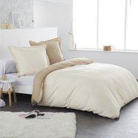 Home lineN housse de couette Bicolore ivoire/taupe en coton 140 x 200 cm