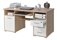 Germania Bureau 3 lades/1 deur eikdecor/wit decor-Afbeelding 1