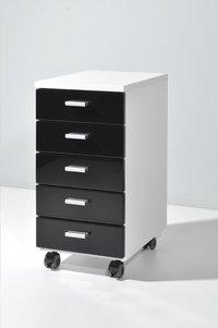 Germania Bloc-tiroirs à 5 tiroirs décor blanc/tiroirs noirs-Image 1