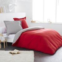 Home lineN dekbedovertrek Bicolore flanel lichtgrijs/rood 240 x 220 cm