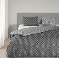 Good Morning Housse de couette Pattern coton anthracite 200 x 220 cm