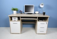Germania Bureau 3 lades/1 deur eikdecor/wit decor-Afbeelding 2
