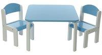 Table avec 2 chaises Fabio blanc/bleu