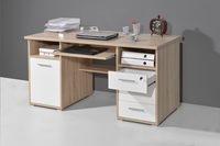 Germania Bureau 3 lades/1 deur eikdecor/wit decor-Afbeelding 3