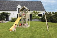 Blue Rabbit 2.0 schommel met speeltoren Pagoda met gele glijbaan